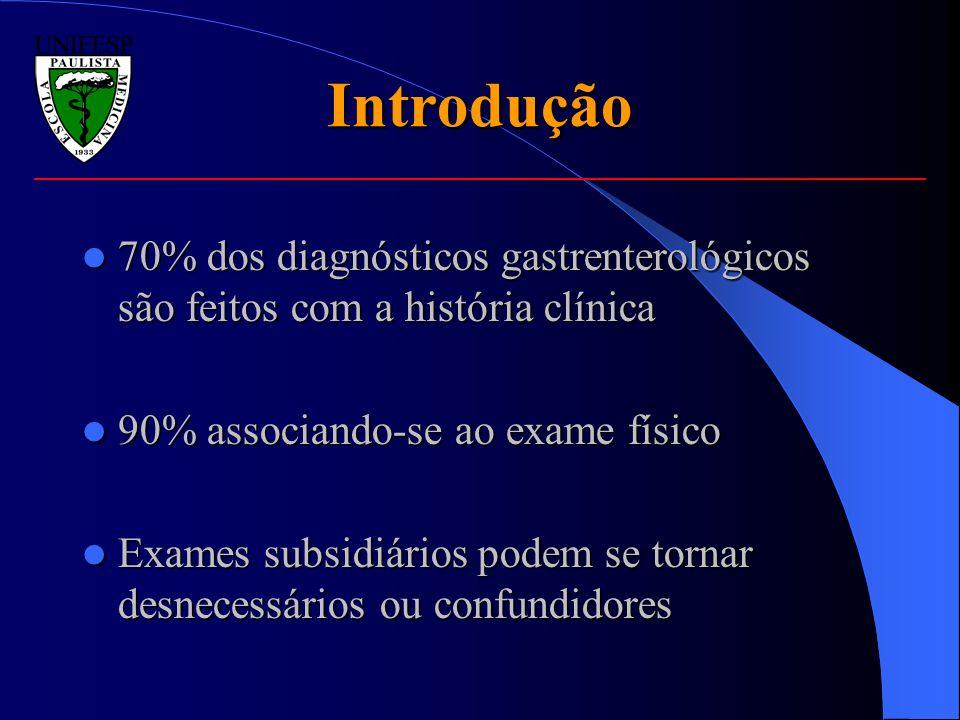 Introdução 70% dos diagnósticos gastrenterológicos são feitos com a história clínica. 90% associando-se ao exame físico.