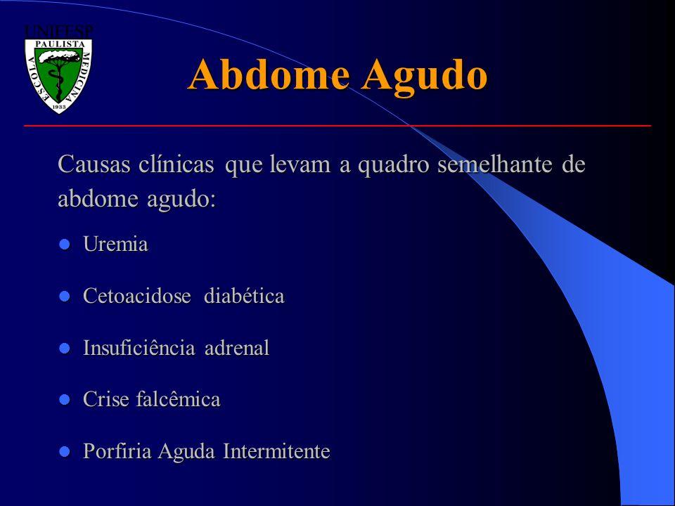 Abdome Agudo Causas clínicas que levam a quadro semelhante de
