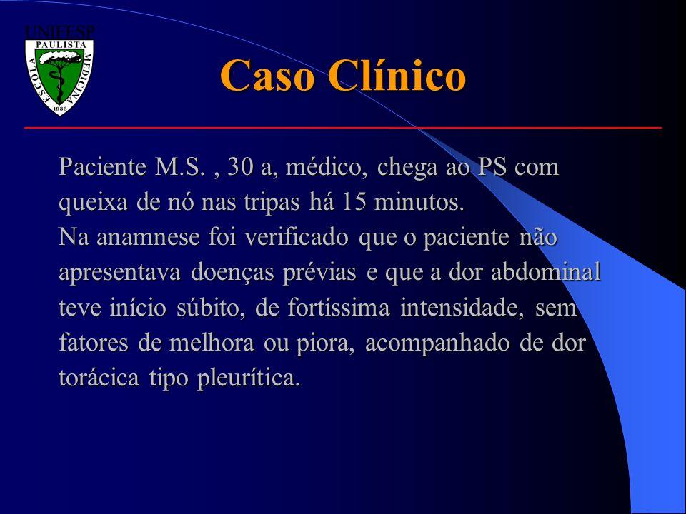 Caso Clínico Paciente M.S. , 30 a, médico, chega ao PS com