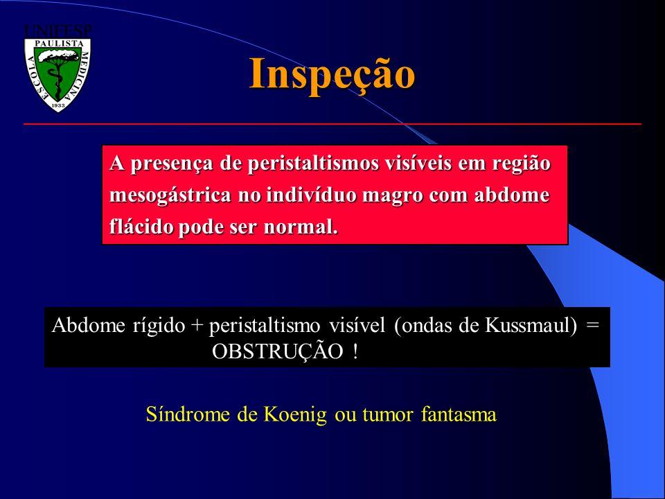 Inspeção A presença de peristaltismos visíveis em região