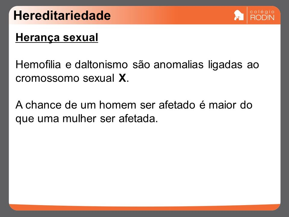 Hereditariedade Herança sexual