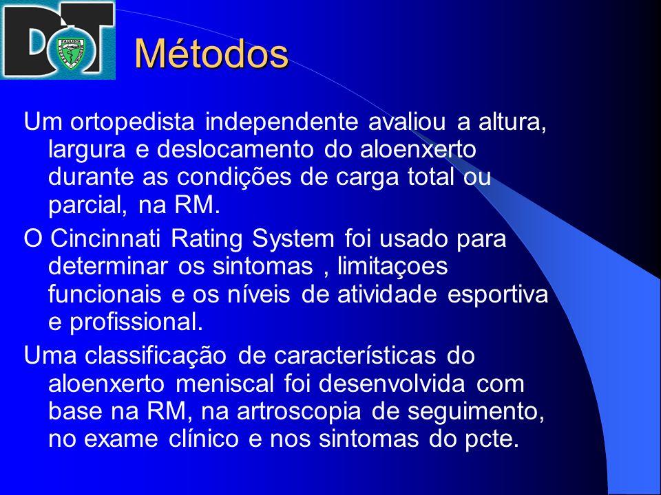 Métodos Um ortopedista independente avaliou a altura, largura e deslocamento do aloenxerto durante as condições de carga total ou parcial, na RM.