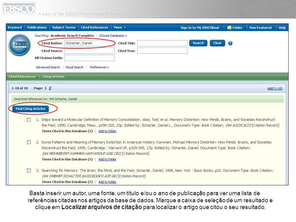 Basta inserir um autor, uma fonte, um título e/ou o ano de publicação para ver uma lista de referências citadas nos artigos da base de dados.