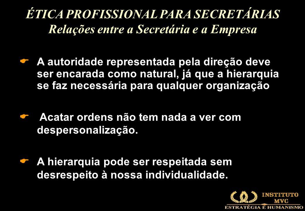 ÉTICA PROFISSIONAL PARA SECRETÁRIAS Relações entre a Secretária e a Empresa