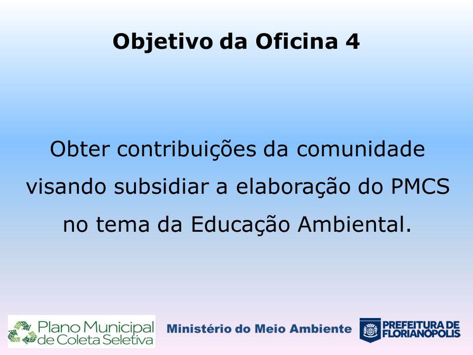 Objetivo da Oficina 4 Obter contribuições da comunidade visando subsidiar a elaboração do PMCS no tema da Educação Ambiental.