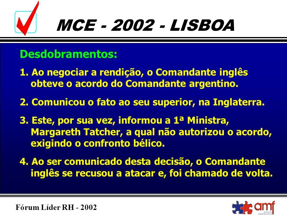 Desdobramentos:1. Ao negociar a rendição, o Comandante inglês obteve o acordo do Comandante argentino.
