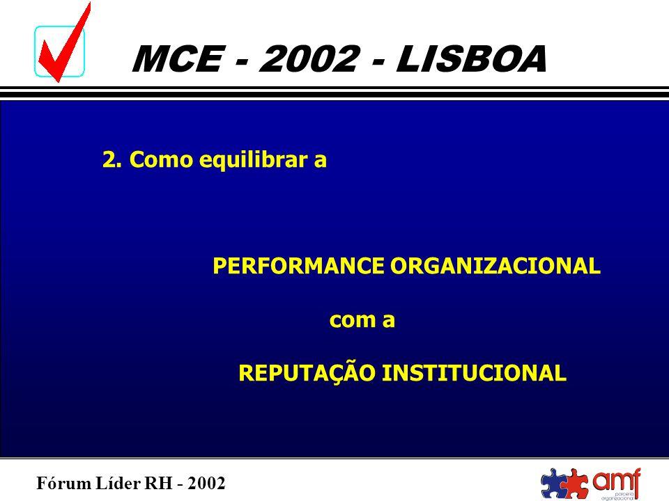 2. Como equilibrar a PERFORMANCE ORGANIZACIONAL com a REPUTAÇÃO INSTITUCIONAL