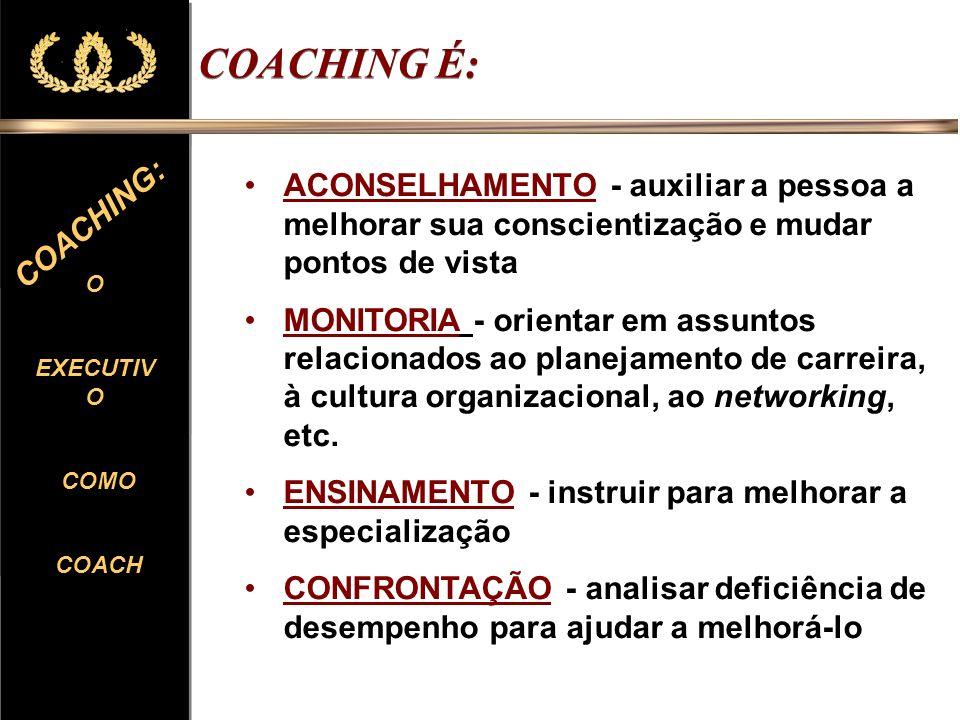 COACHING É: ACONSELHAMENTO - auxiliar a pessoa a melhorar sua conscientização e mudar pontos de vista.