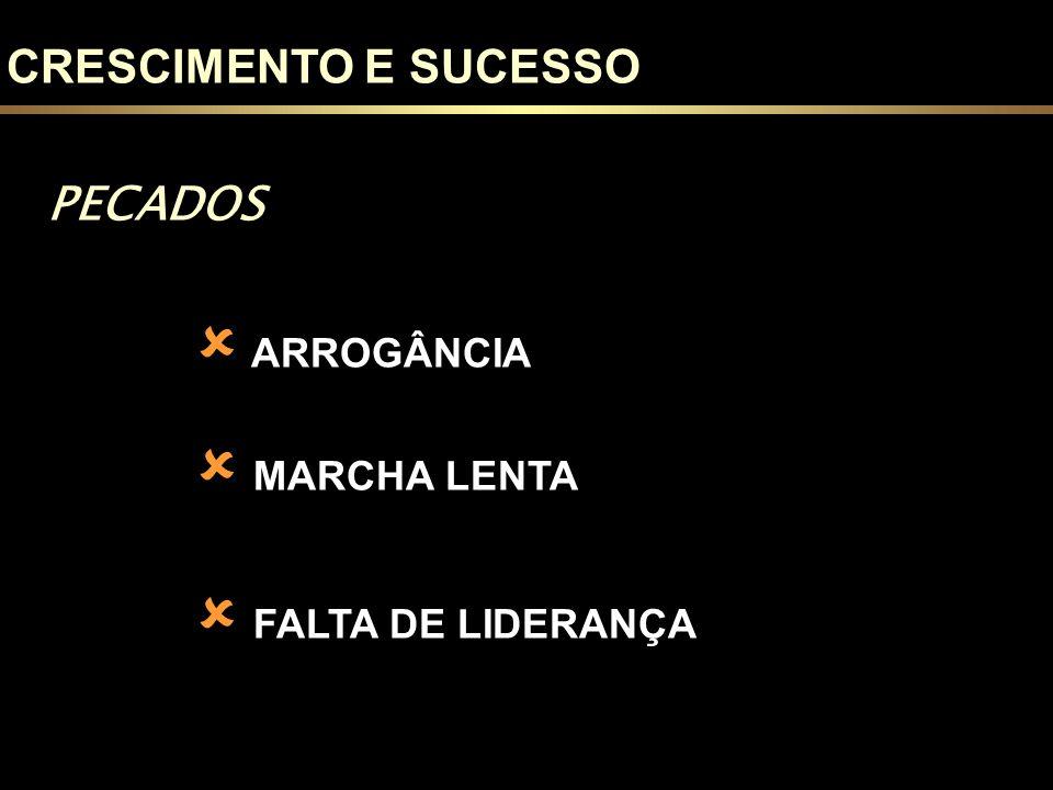 CRESCIMENTO E SUCESSO PECADOS ARROGÂNCIA MARCHA LENTA