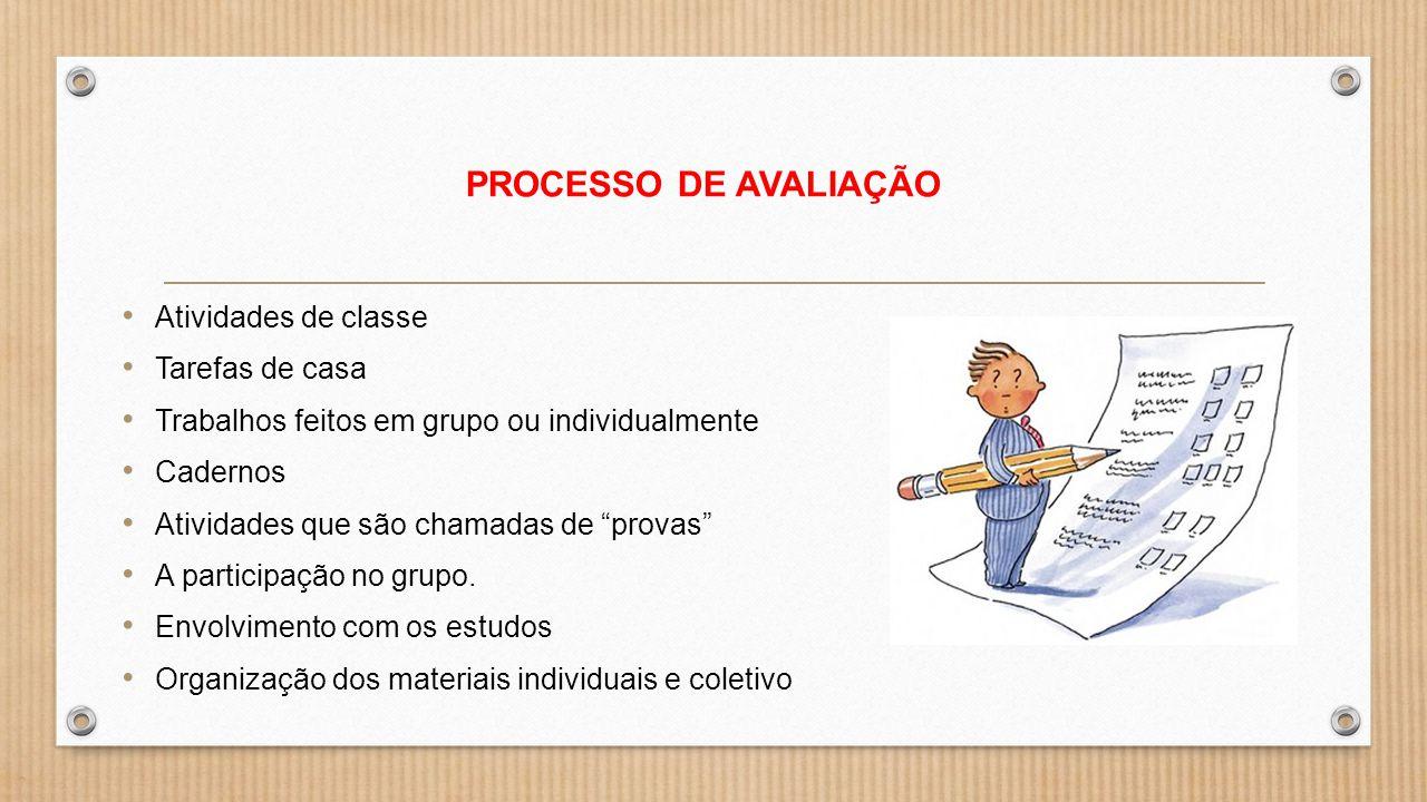 PROCESSO DE AVALIAÇÃO Atividades de classe Tarefas de casa