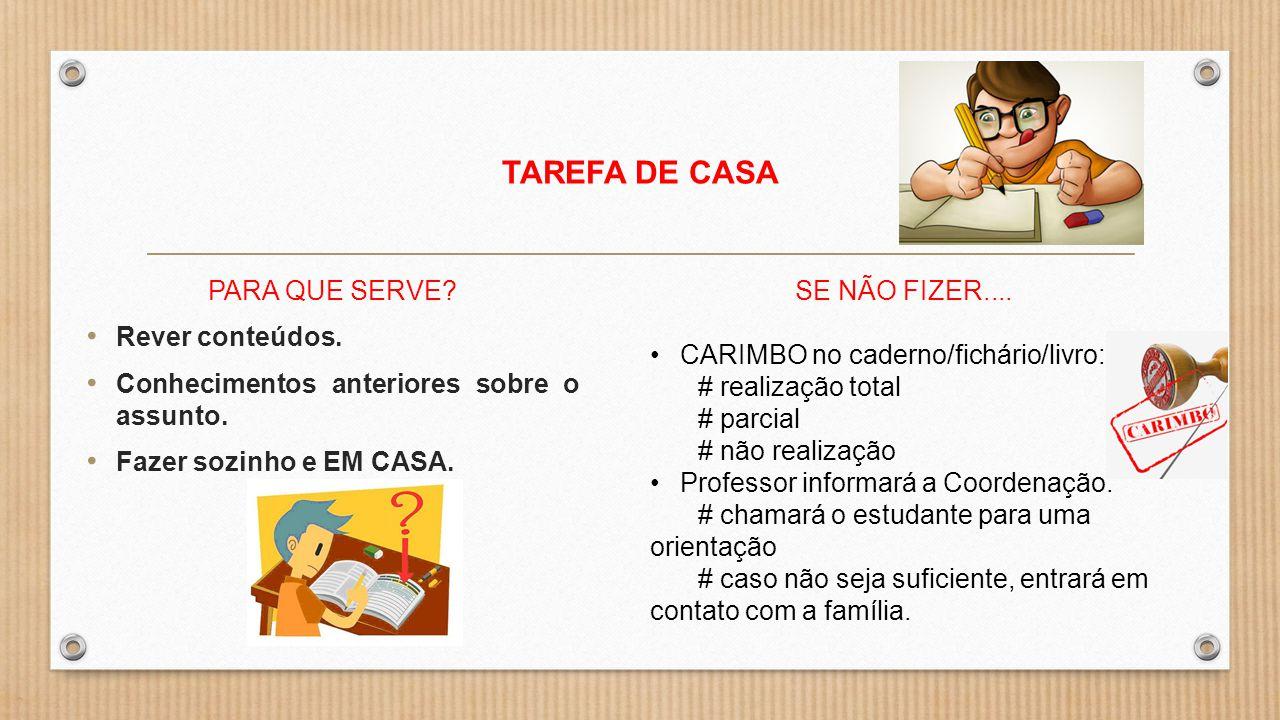 TAREFA DE CASA PARA QUE SERVE Rever conteúdos.