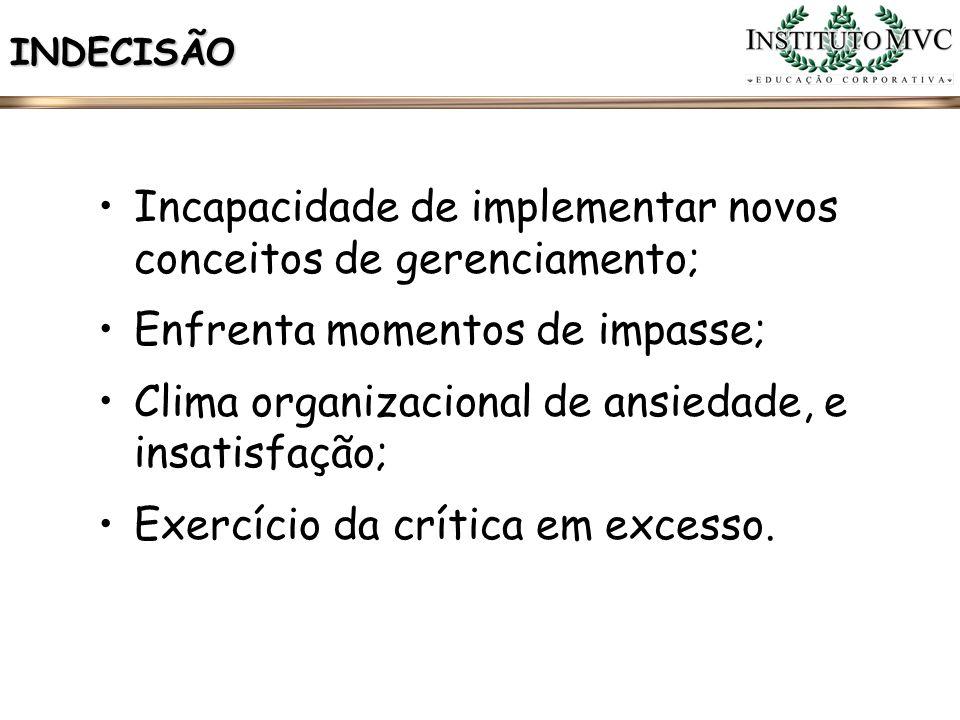 Incapacidade de implementar novos conceitos de gerenciamento;