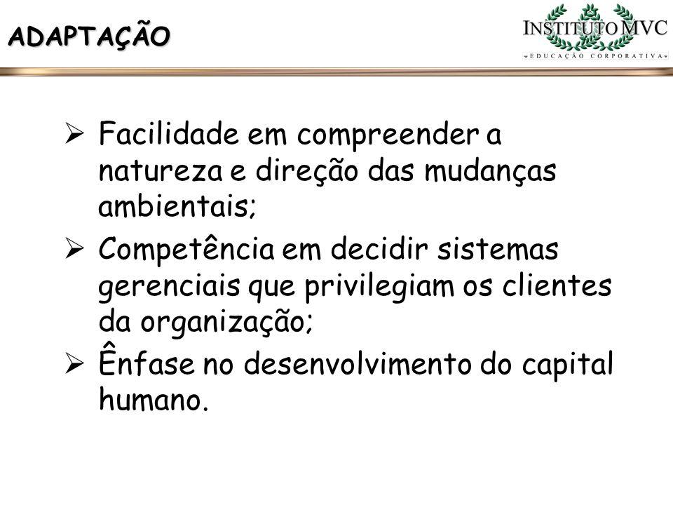 Ênfase no desenvolvimento do capital humano.