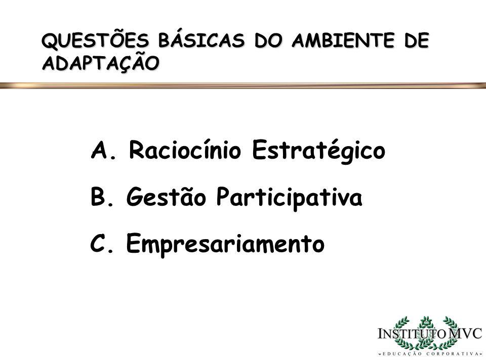 A. Raciocínio Estratégico B. Gestão Participativa C. Empresariamento