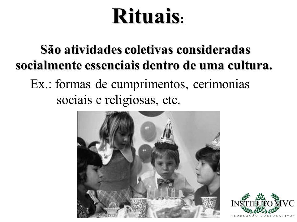 Rituais: São atividades coletivas consideradas
