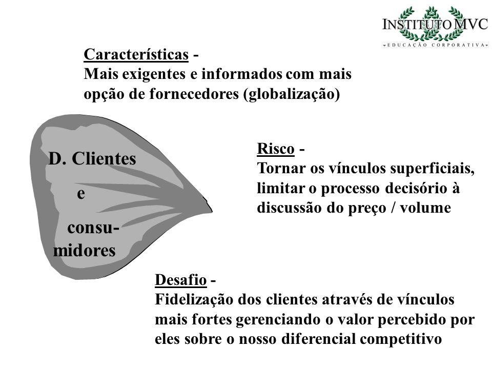 D. Clientes e consu- midores Características -