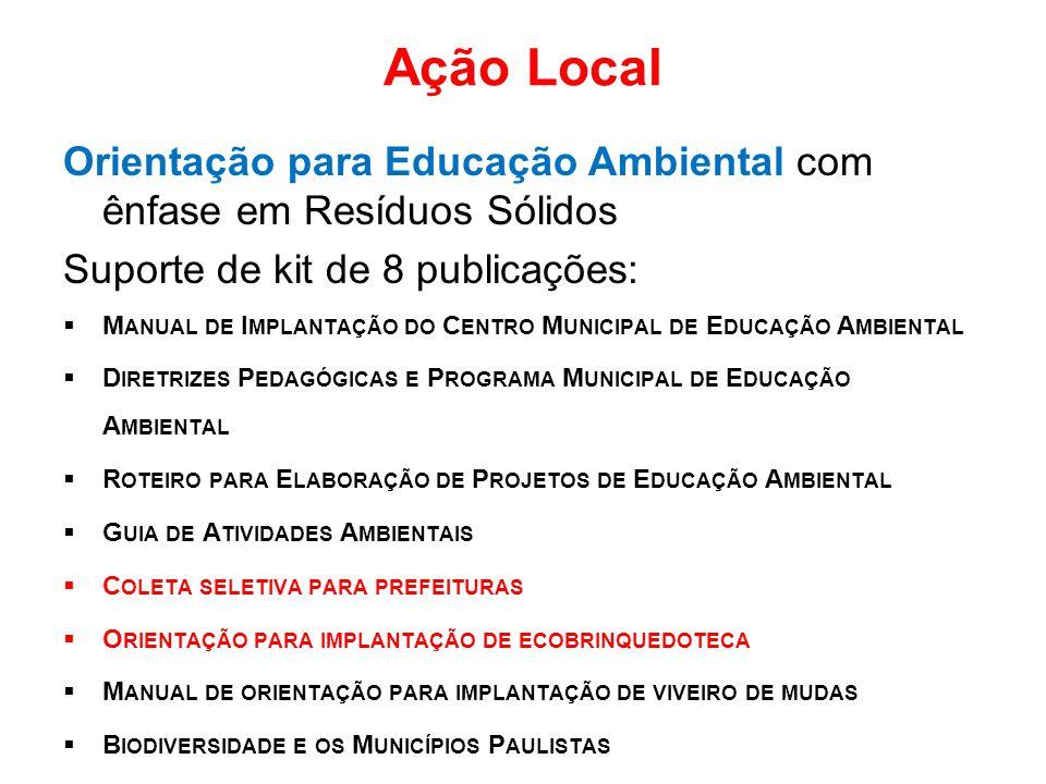 Ação Local Orientação para Educação Ambiental com ênfase em Resíduos Sólidos. Suporte de kit de 8 publicações:
