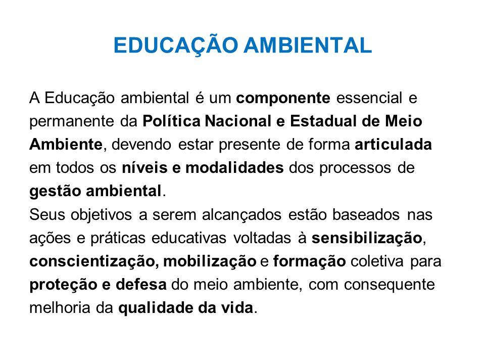 EDUCAÇÃO AMBIENTAL A Educação ambiental é um componente essencial e