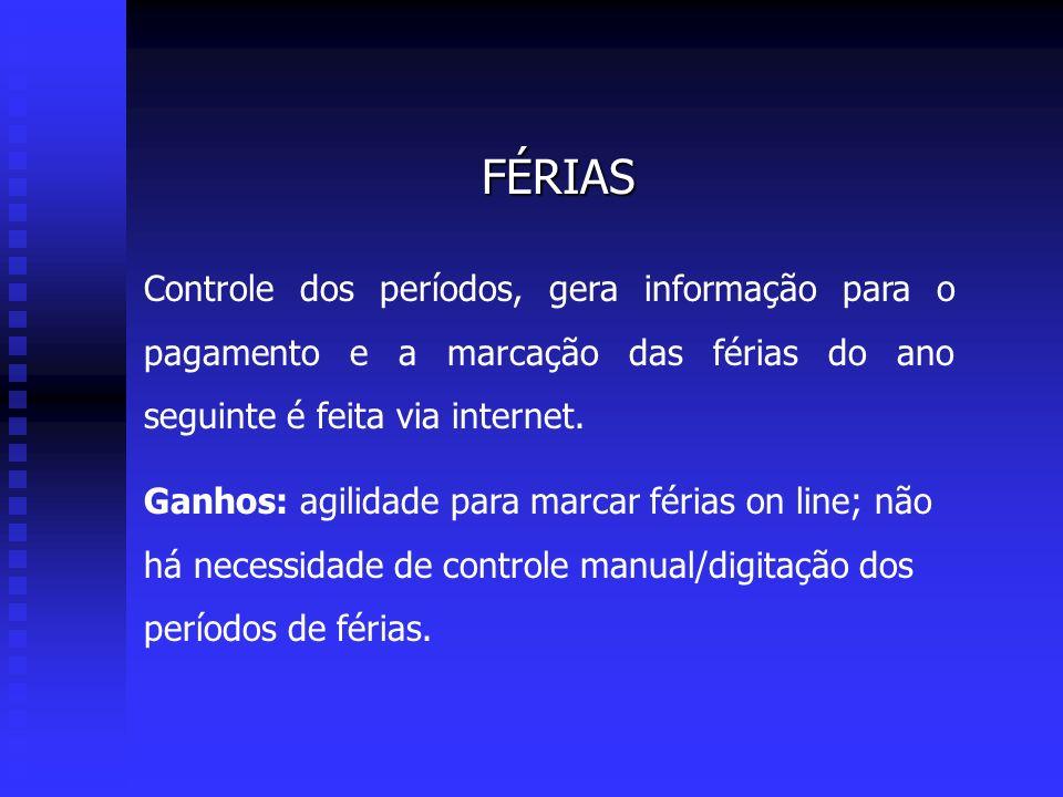 FÉRIAS Controle dos períodos, gera informação para o pagamento e a marcação das férias do ano seguinte é feita via internet.