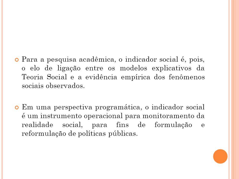 Para a pesquisa acadêmica, o indicador social é, pois, o elo de ligação entre os modelos explicativos da Teoria Social e a evidência empírica dos fenômenos sociais observados.