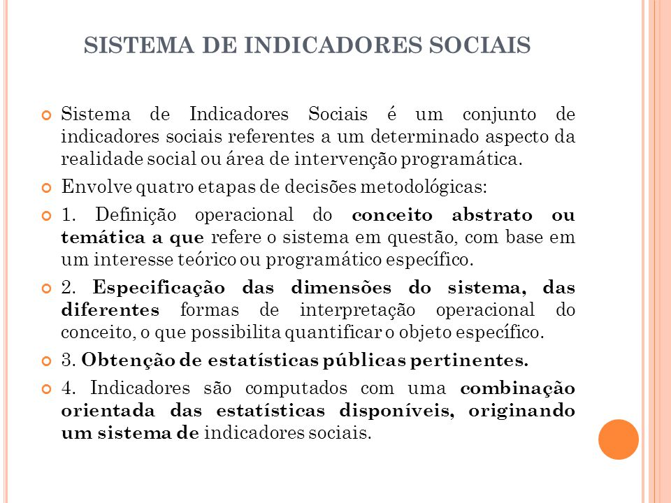 SISTEMA DE INDICADORES SOCIAIS