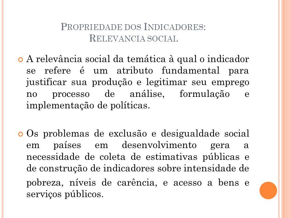 Propriedade dos Indicadores: Relevancia social