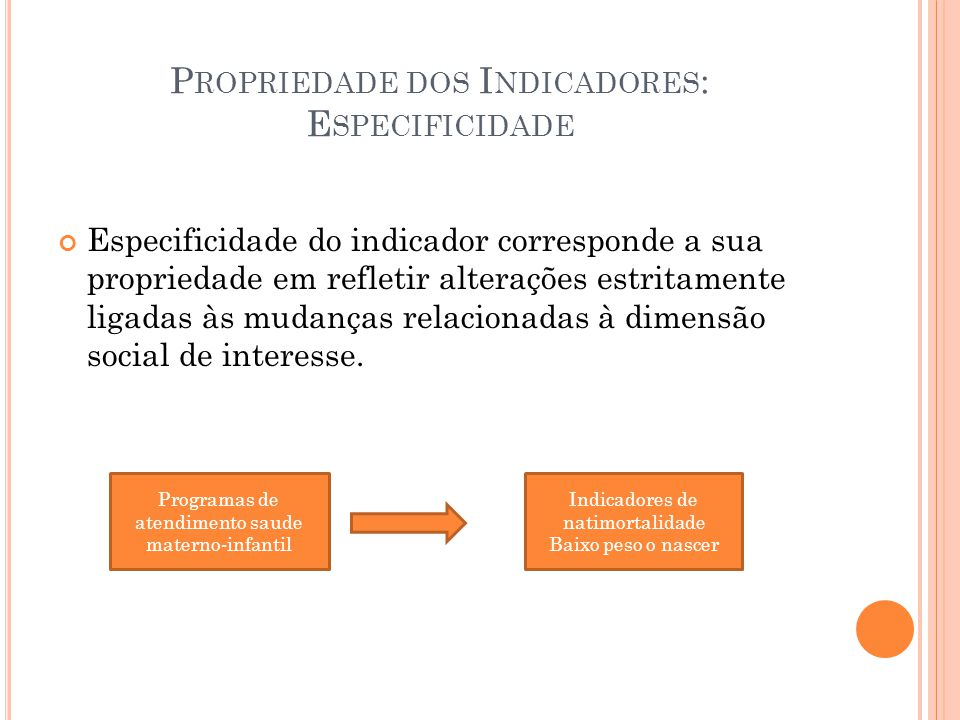 Propriedade dos Indicadores: Especificidade