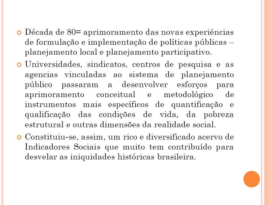 Década de 80= aprimoramento das novas experiências de formulação e implementação de políticas públicas – planejamento local e planejamento participativo.