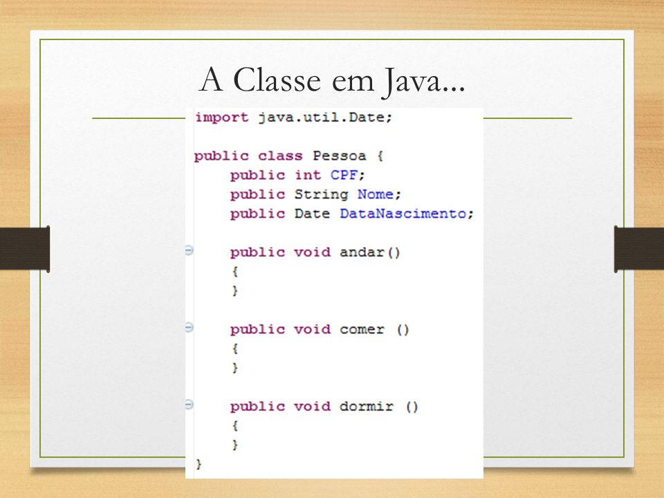 A Classe em Java...