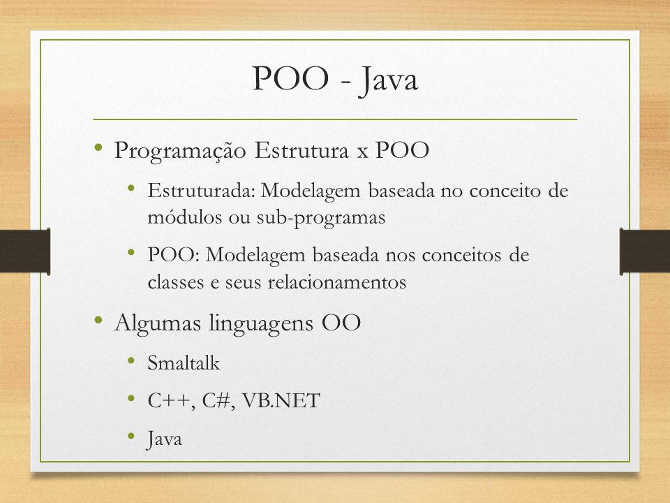 POO - Java Programação Estrutura x POO Algumas linguagens OO