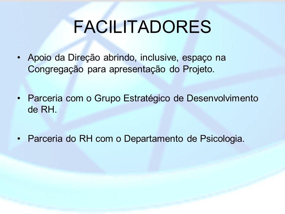 FACILITADORES Apoio da Direção abrindo, inclusive, espaço na Congregação para apresentação do Projeto.