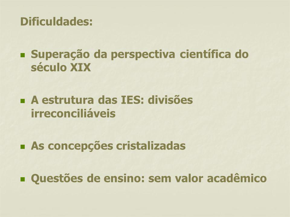 Dificuldades:Superação da perspectiva científica do século XIX. A estrutura das IES: divisões irreconciliáveis.