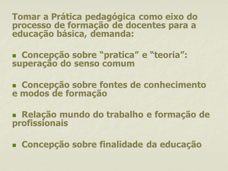 Tomar a Prática pedagógica como eixo do processo de formação de docentes para a educação básica, demanda: