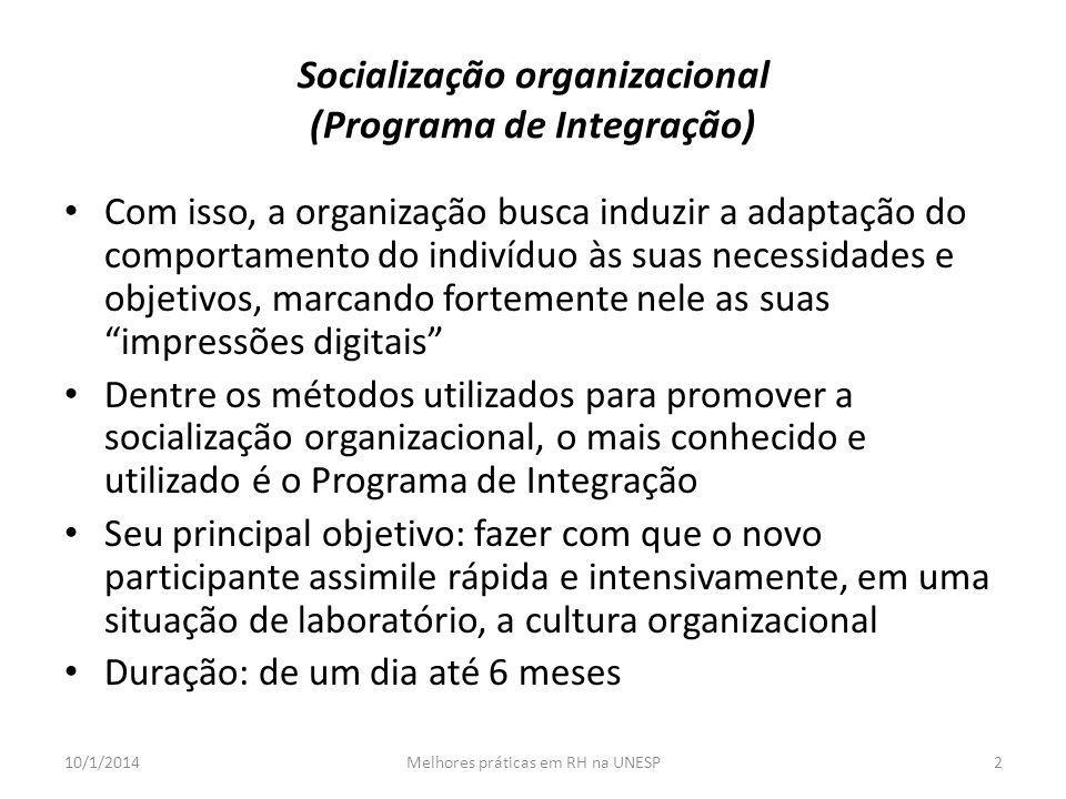 Socialização organizacional (Programa de Integração)