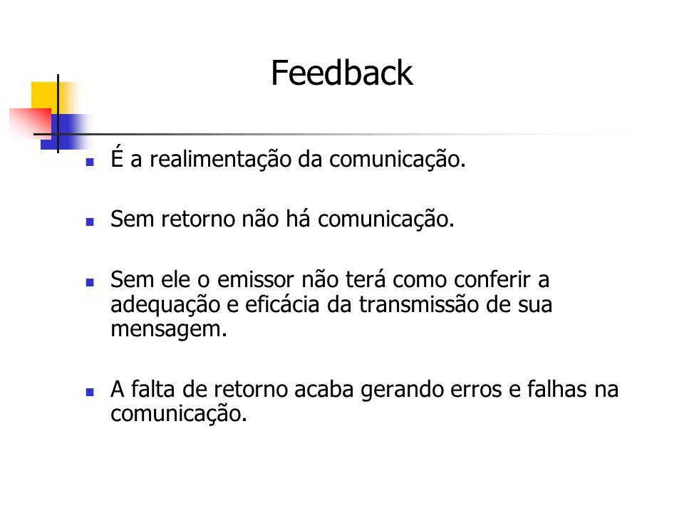 Feedback É a realimentação da comunicação.
