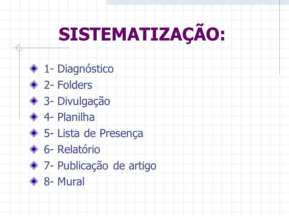 SISTEMATIZAÇÃO: 1- Diagnóstico 2- Folders 3- Divulgação 4- Planilha