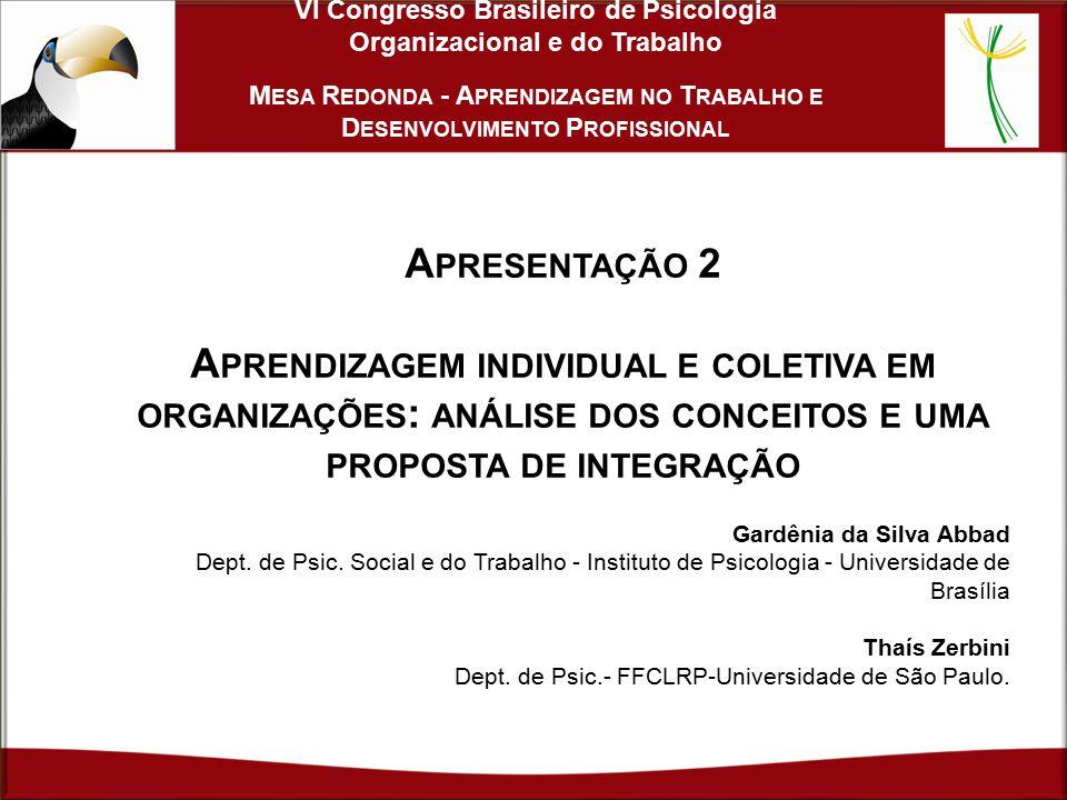 VI Congresso Brasileiro de Psicologia Organizacional e do Trabalho