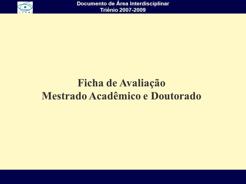 Ficha de Avaliação Mestrado Acadêmico e Doutorado