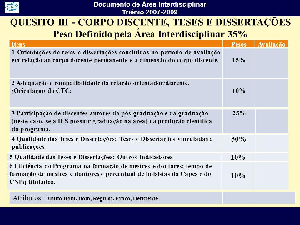 QUESITO III - CORPO DISCENTE, TESES E DISSERTAÇÕES