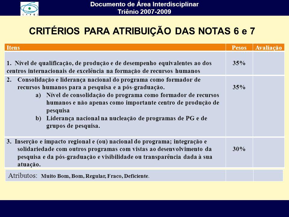 CRITÉRIOS PARA ATRIBUIÇÃO DAS NOTAS 6 e 7