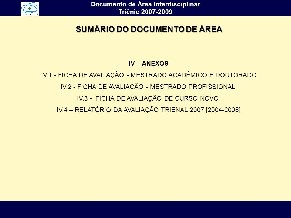 SUMÁRIO DO DOCUMENTO DE ÁREA