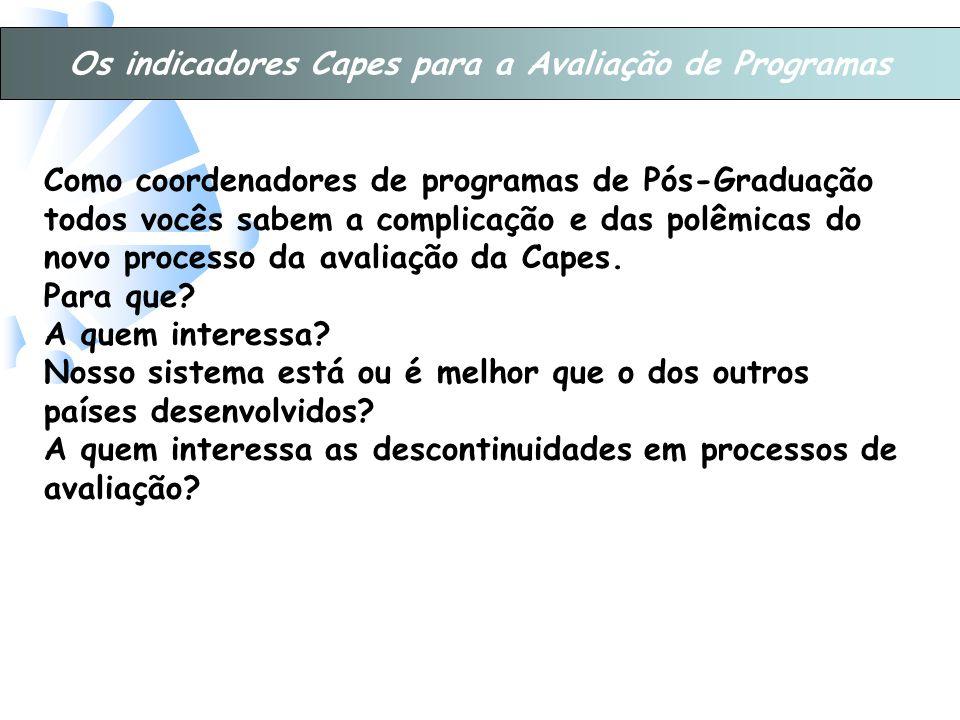 Os indicadores Capes para a Avaliação de Programas