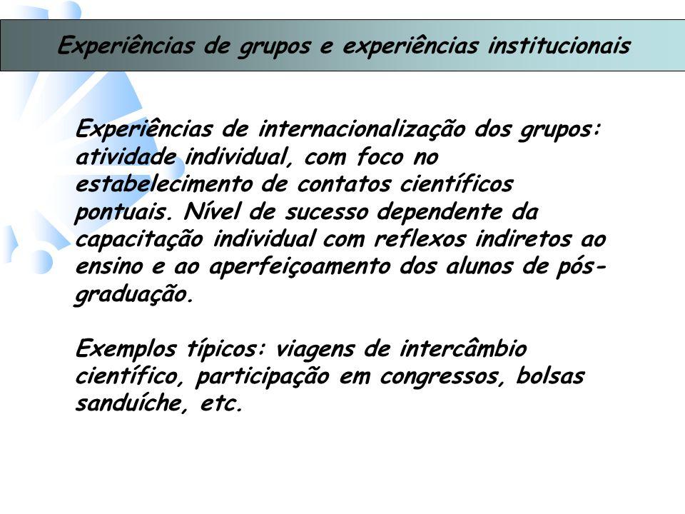Experiências de grupos e experiências institucionais