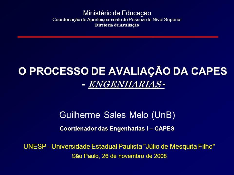 O PROCESSO DE AVALIAÇÃO DA CAPES Coordenador das Engenharias I – CAPES