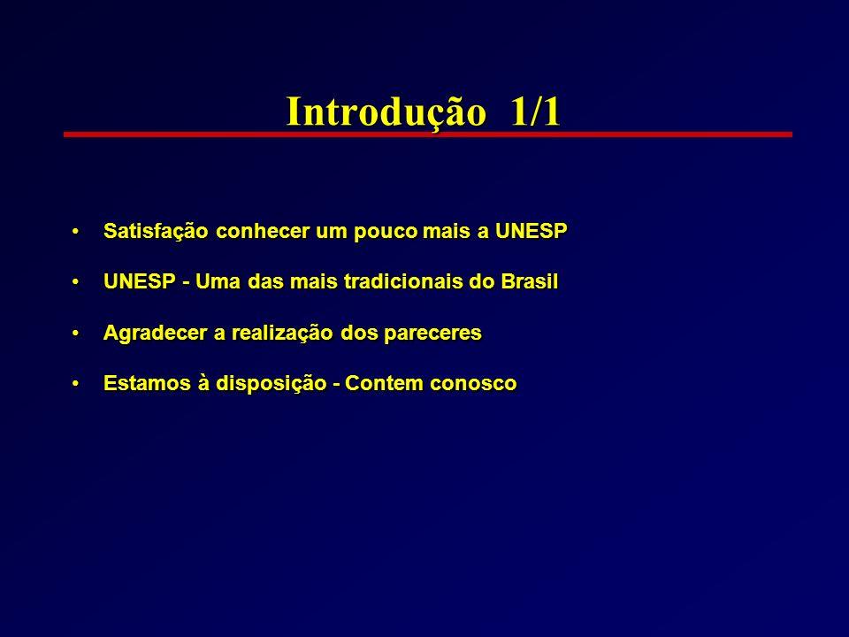 Introdução 1/1 Satisfação conhecer um pouco mais a UNESP