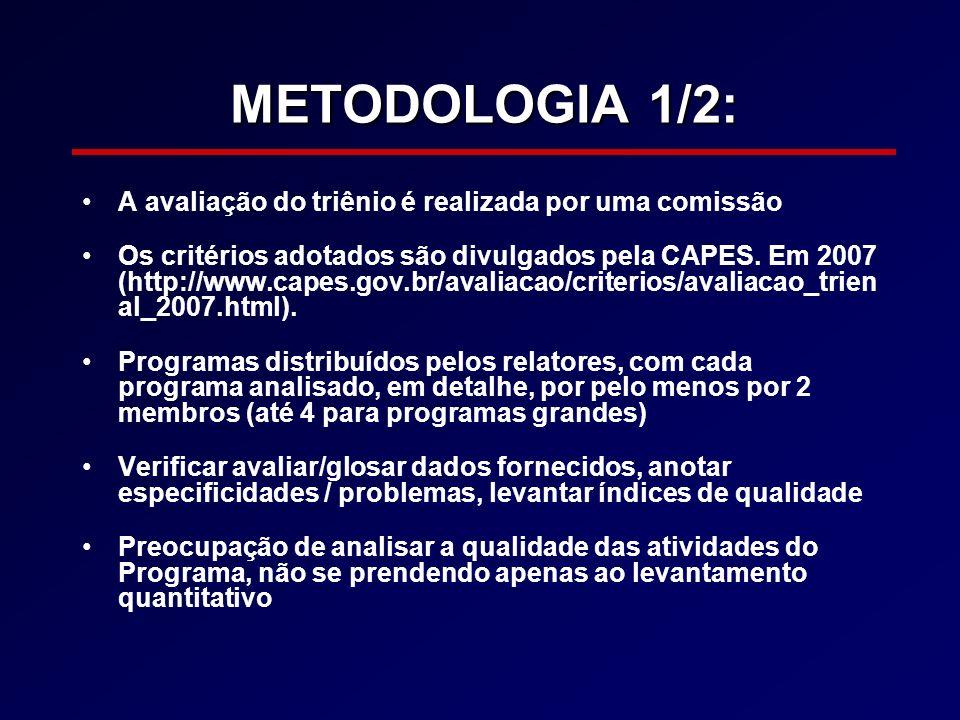 METODOLOGIA 1/2: A avaliação do triênio é realizada por uma comissão