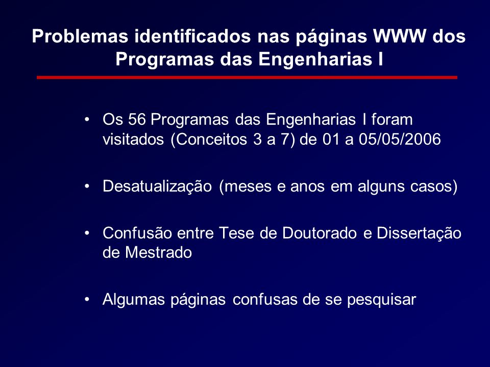 Problemas identificados nas páginas WWW dos Programas das Engenharias I