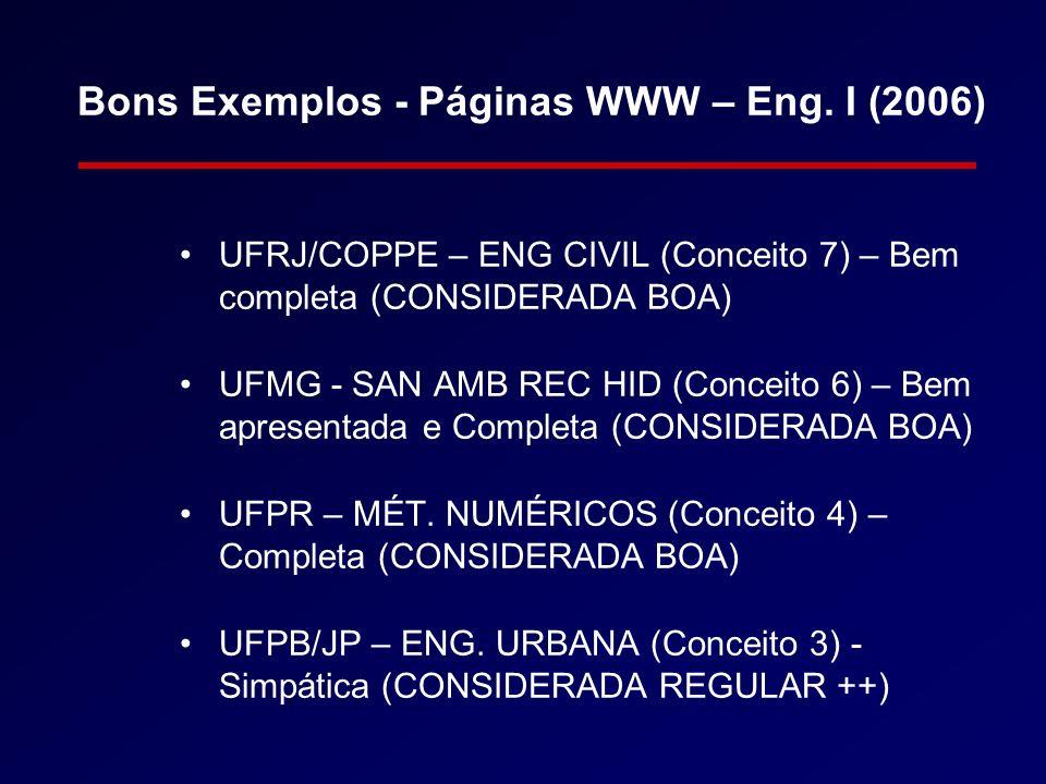 Bons Exemplos - Páginas WWW – Eng. I (2006)
