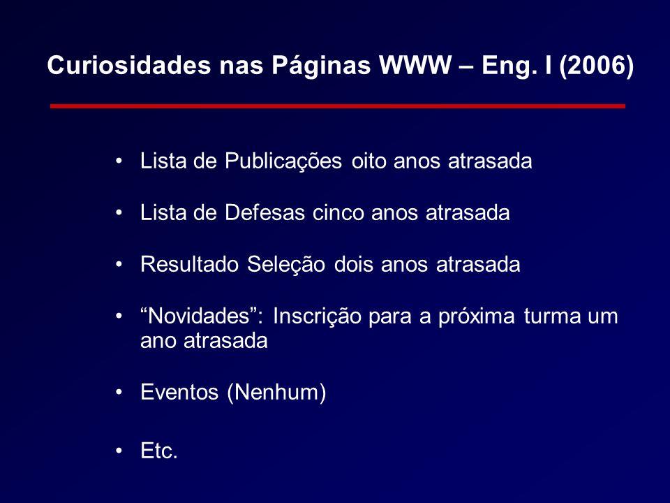 Curiosidades nas Páginas WWW – Eng. I (2006)