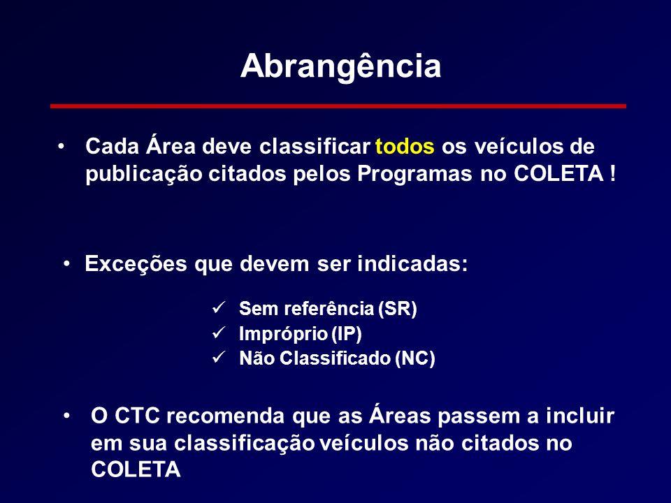 Abrangência Cada Área deve classificar todos os veículos de publicação citados pelos Programas no COLETA !
